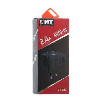 Купить СЕТЕВОЕ ЗАРЯДНОЕ УСТРОЙСТВО EMY MY-227 MICRO 2 USB 2400 MAH
