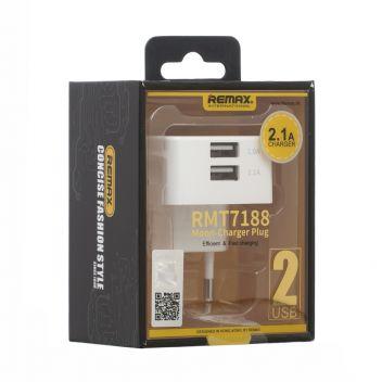Купить СЕТЕВОЕ ЗАРЯДНОЕ УСТРОЙСТВО REMAX MOON RMT7188 2 USB 2.1A