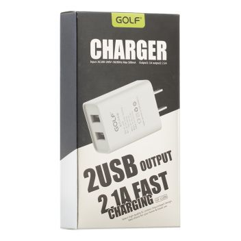 Купить СЕТЕВОЕ ЗАРЯДНОЕ УСТРОЙСТВО GOLF GF-U206 2 USB