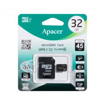 Купить КАРТА ПАМЯТИ APACER MICROSDHC 32GB 10 CLASS & ADAPTER