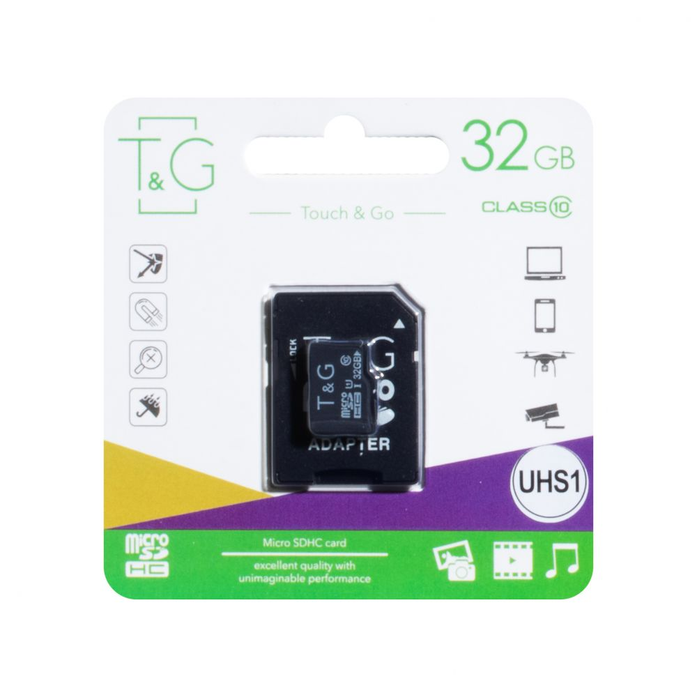 Купить КАРТА ПАМЯТИ T&G MICROSDHC 32GB 10 CLASS & ADAPTER