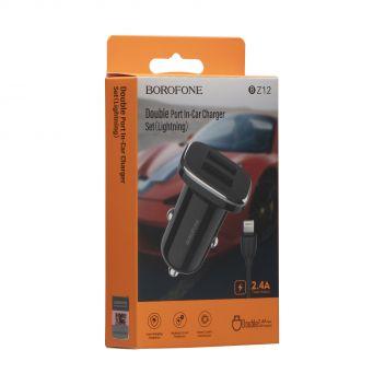 Купить АВТО ЗАРЯДНОЕ УСТРОЙСТВО BOROFONE BZ12 2.4A LIGHTNING 2 USB