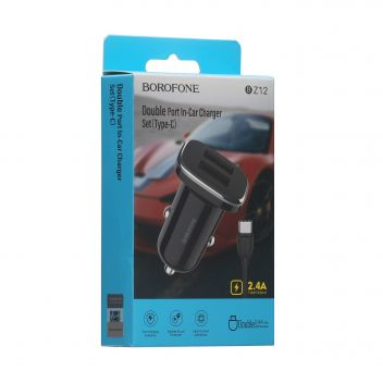 Купить АВТО ЗАРЯДНОЕ УСТРОЙСТВО BOROFONE BZ12 2.4A TYPE-C 2 USB