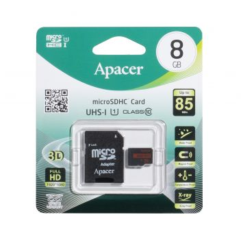 Купить КАРТА ПАМЯТИ APACER MICROSDHC 8GB 10 CLASS & ADAPTER R85MB/S