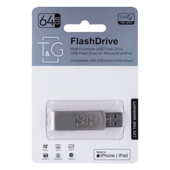Купить USB OTG T&G 3&1 LIGHTNING & ANDROID 64GB METAL 007
