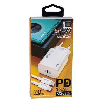 Купить СЕТЕВОЕ ЗАРЯДНОЕ УСТРОЙСТВО MOXOM MX-HC25 PD 18W USB-C TYPE-C