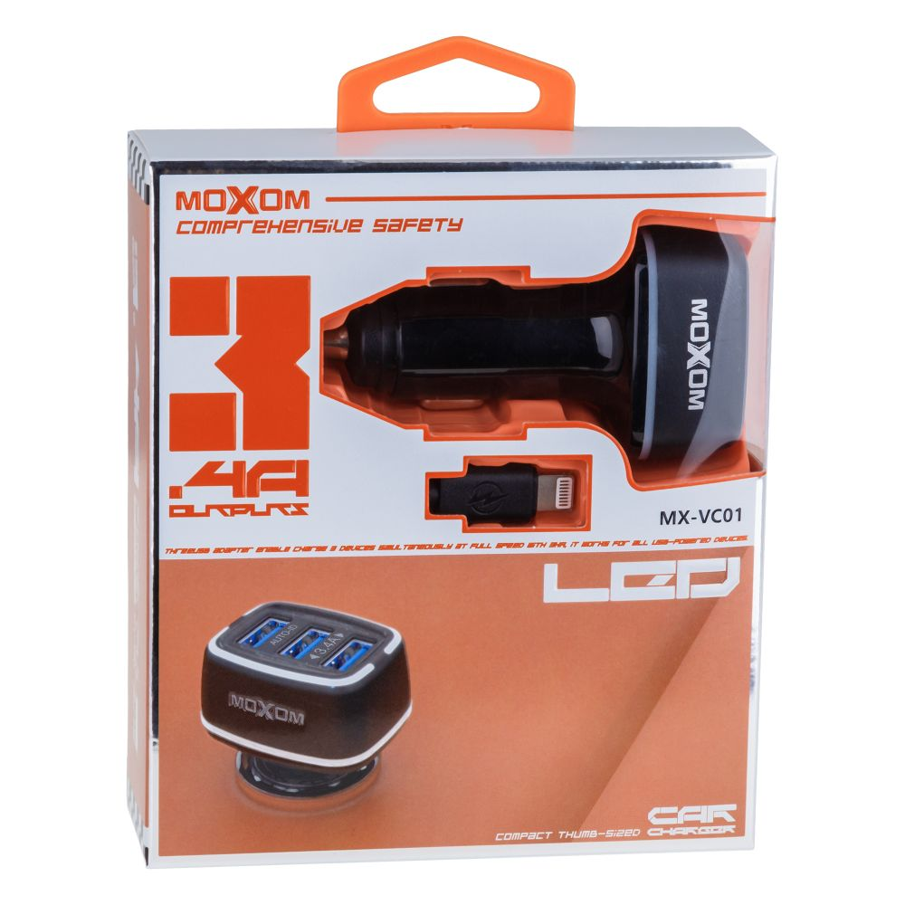 Купить АВТО ЗАРЯДНОЕ УСТРОЙСТВО MOXOM MX-VC01 LIGHTNING 3USB
