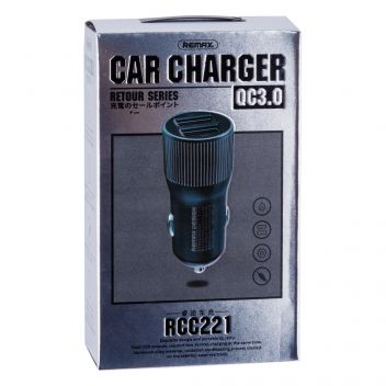 Купить АВТО ЗАРЯДНОЕ УСТРОЙСТВО REMAX RCC 221 2 USB 2.4A + QC3.0
