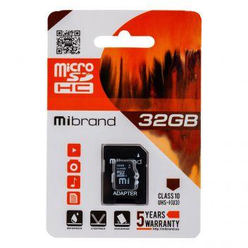 Купить КАРТА ПАМЯТИ MIBRAND MICROSDHC 32GB 10 CLASS & ADAPTER