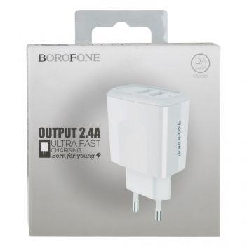Купить СЕТЕВОЕ ЗАРЯДНОЕ УСТРОЙСТВО BOROFONE BA3A 2 USB 2.4A