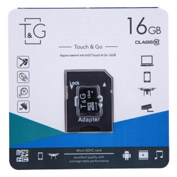 Купить КАРТА ПАМЯТИ T&G MICROSDHC 16GB 10 CLASS & ADAPTER