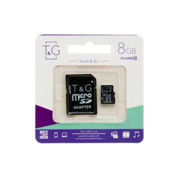 Купить КАРТА ПАМЯТИ T&G MICROSDHC 8GB 10 CLASS & ADAPTER